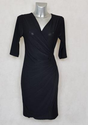 robe femme fluide drapée à manches noir