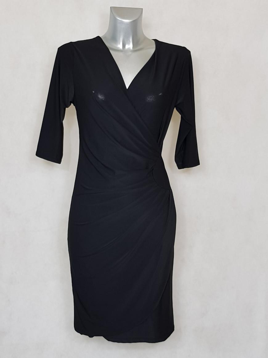 robe-femme-fluide-drapee-à-manches-noir-unie