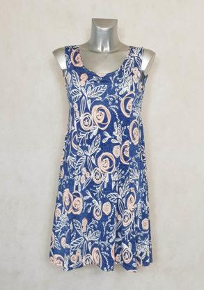 Robe femme évasée fluide floral bleu sans manches