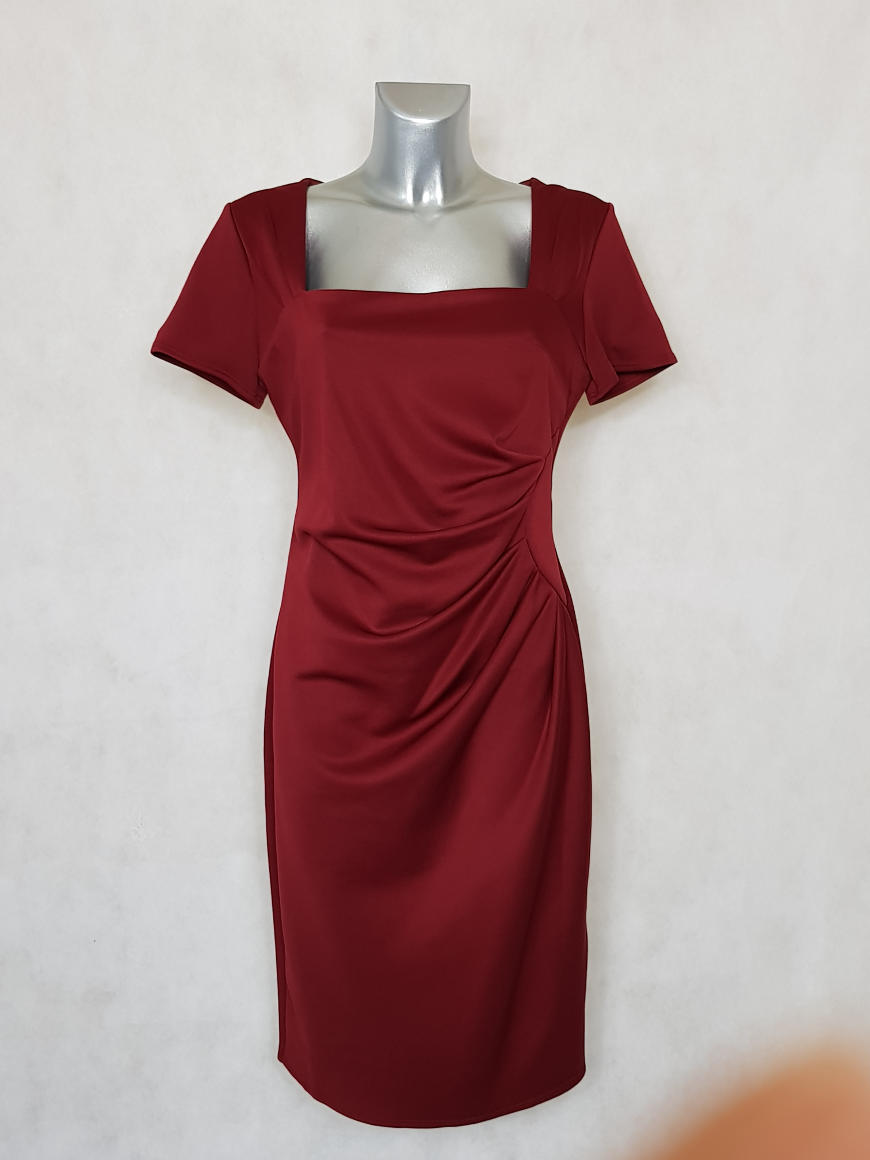 robe-femme-grande-taille-drapee-rouge