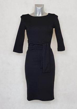 Robe femme fourreau unie noir manches ¾ ceinturée.