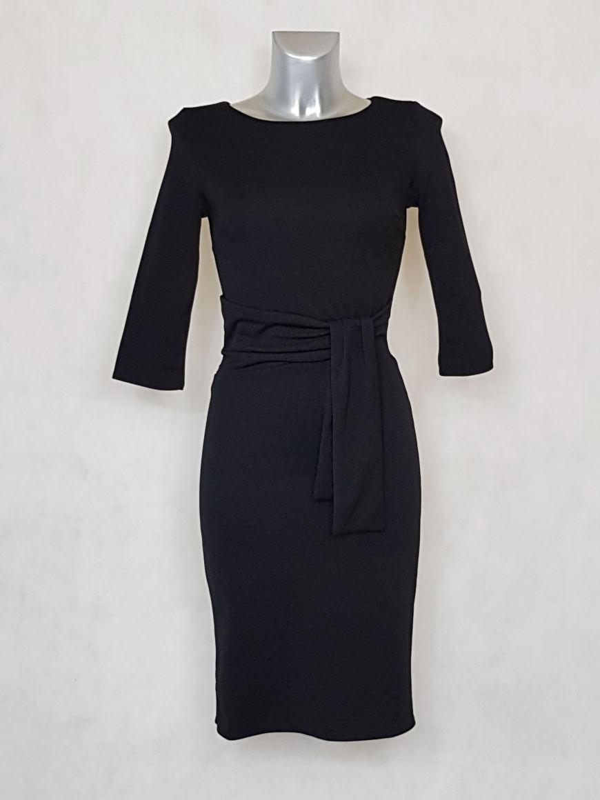 robe-femme-fourreau-unie-noir-manches-¾