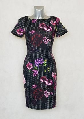 Robe femme fourreau imprimée à pois-floral et manches courtes