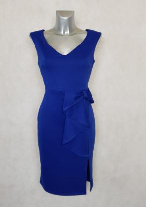 Robe femme fourreau à volants bleu royal sans manches.