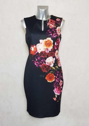 robe femme fourreau sans manches fleurie