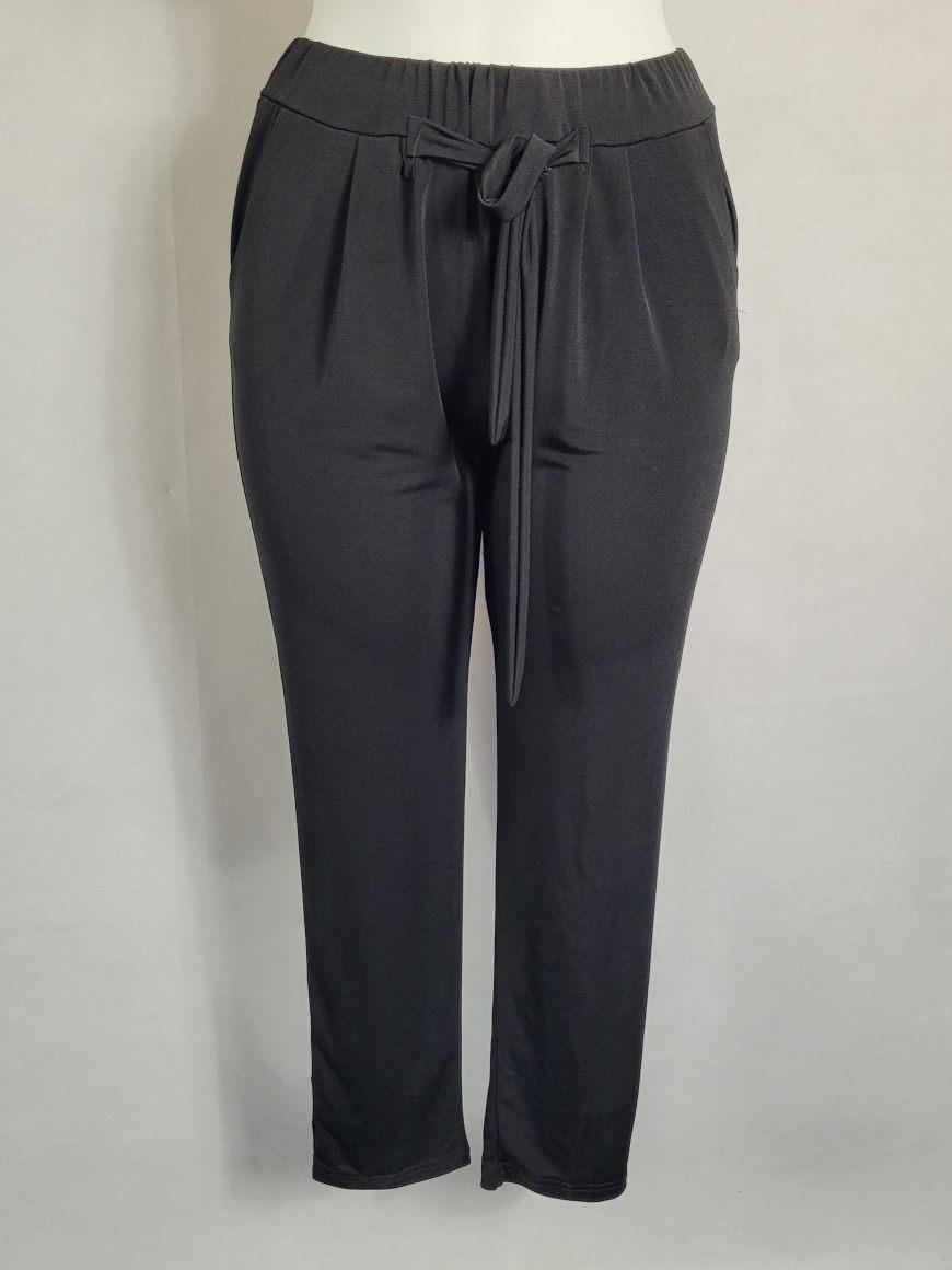 Pantalon noir femme ronde taille élastique2