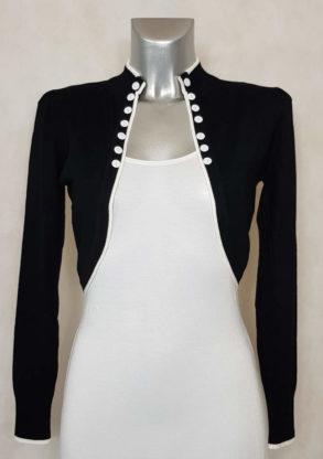veste boléro femme noir liseré blanc