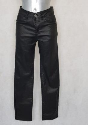 Pantalon femme droit enduit noir taille haute gainante