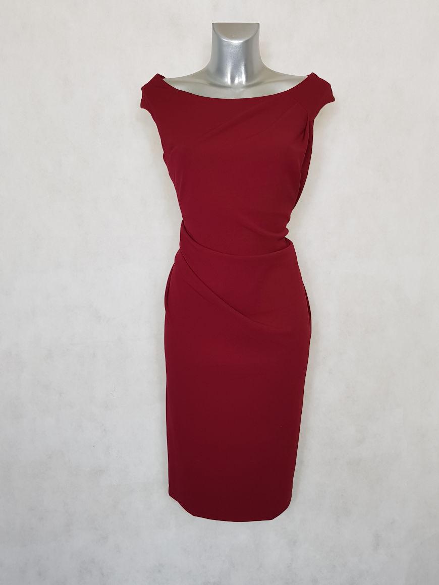 robe-femme-grande-taille-drapee-bordeaux