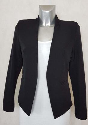 veste blazer femme noir sans col