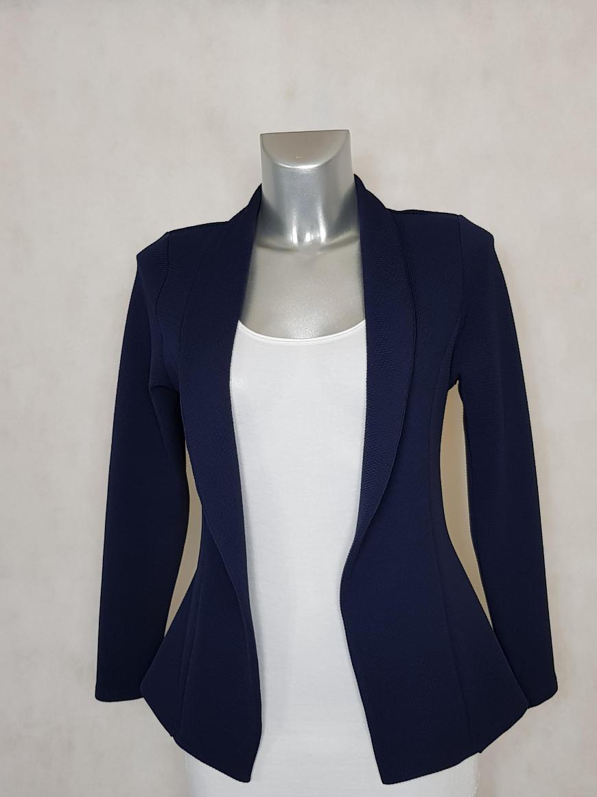 veste-blazer-femme-marine-unie-cintree