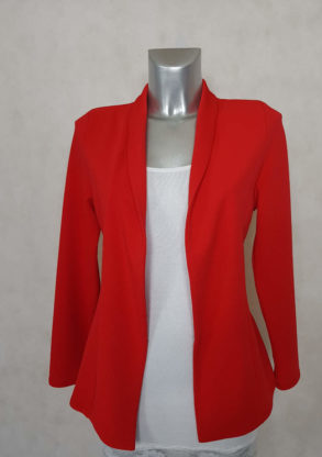veste blazer femme rouge unie cintrée