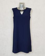 Robe femme courte droite bleue sans manches.