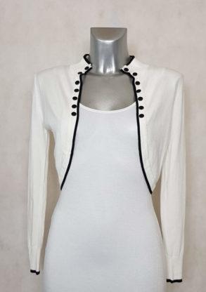 veste boléro femme blanc liseré noir