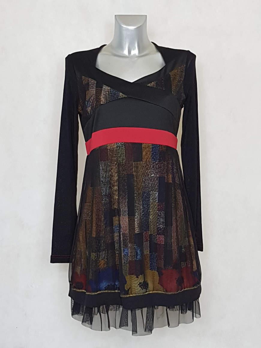 robe-femme-courte-évasée-imprimée-&-voile