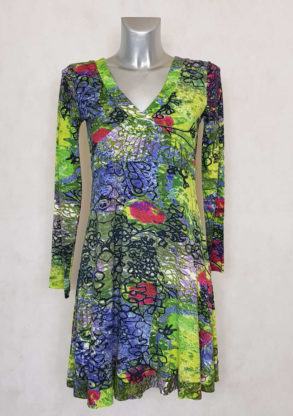 Robe femme évasée imprimée fleurie vert manches longues
