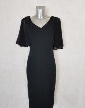 Robe femme grande taille droite noir à manches en voile