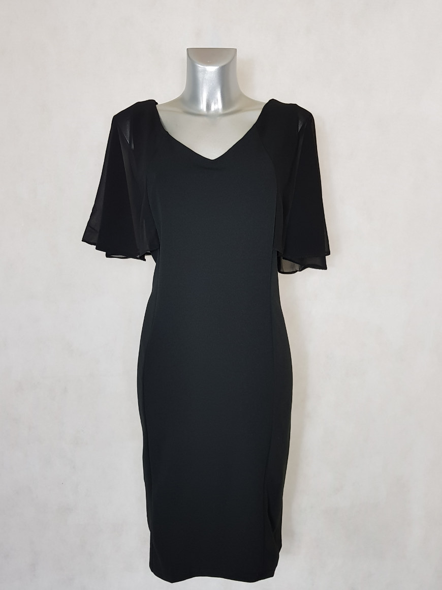 robe-femme-grande-taille-droite-noir-à-manches