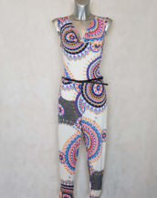combi-pantalon femme fluide motif blanc