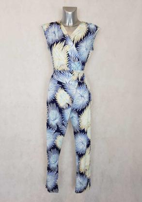 combi-pantalon femme fluide motif bleu