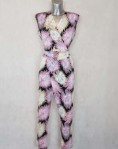 combi-pantalon femme fluide motif rose