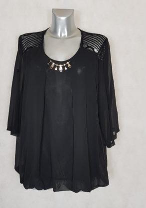 Tunique femme grande taille voile dentelle blousante couleur noir manches 3/4