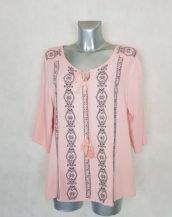Tunique femme grande taille rose brodée manches 3/4 style bohème
