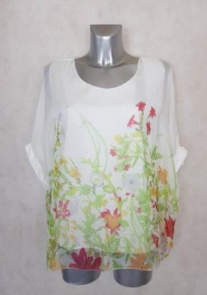 Tunique femme 2 en 1 voile floral vert manches courtes