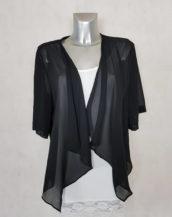 Veste boléro élégante femme grande taille en voile transparent noir manches courtes.