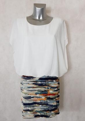 Robe femme blanche courte blousante effet 2 en 1 manche en voile