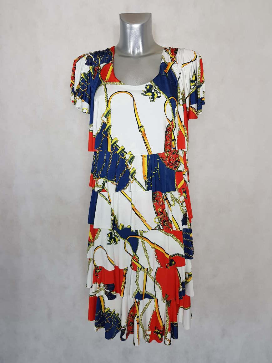 robe-femme-grande-taille-a-volants-tricolore
