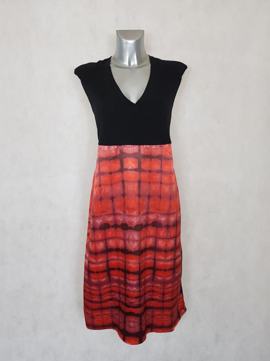 robe-femme-droite-courte-bimatiere-imprimee