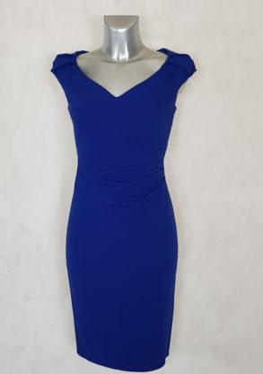 Robe femme drapée sans manches unie bleu