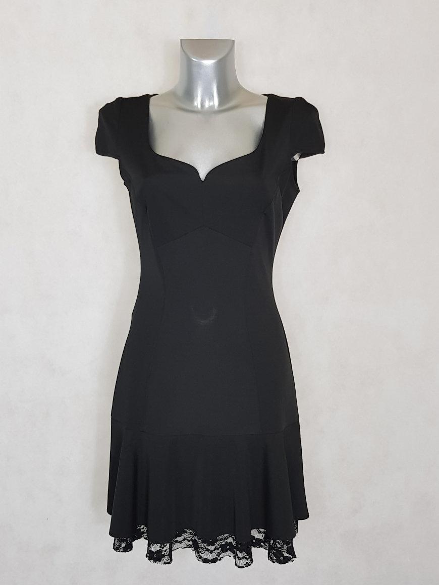 robe-femme-droite-a-volants-manches-courtes-noir