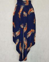 Pantalon femme sarouel fluide motif plume
