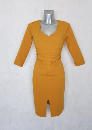 Robe femme fourreau à manches moutarde courte.