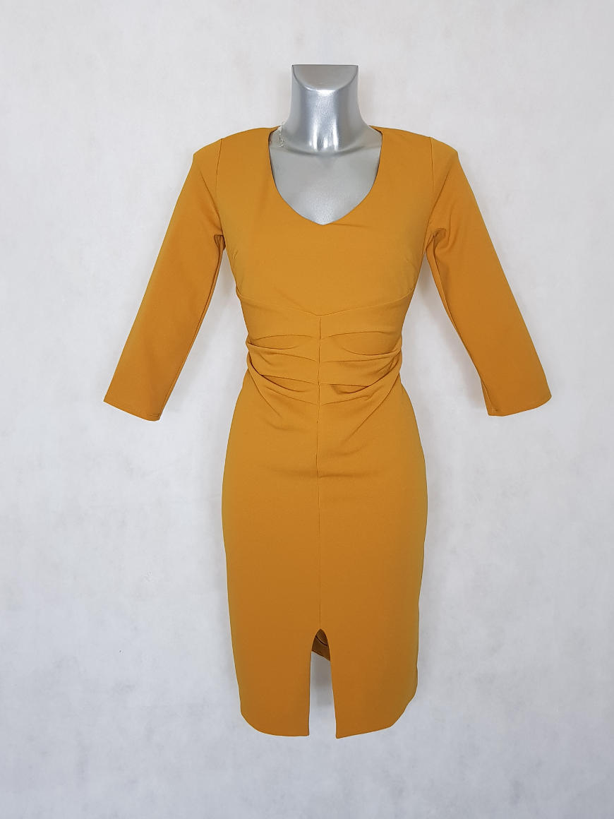 robe-femme-fourreau-a-manches-moutarde