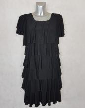 Robe femme fluide noir à volants superposés manches courtes