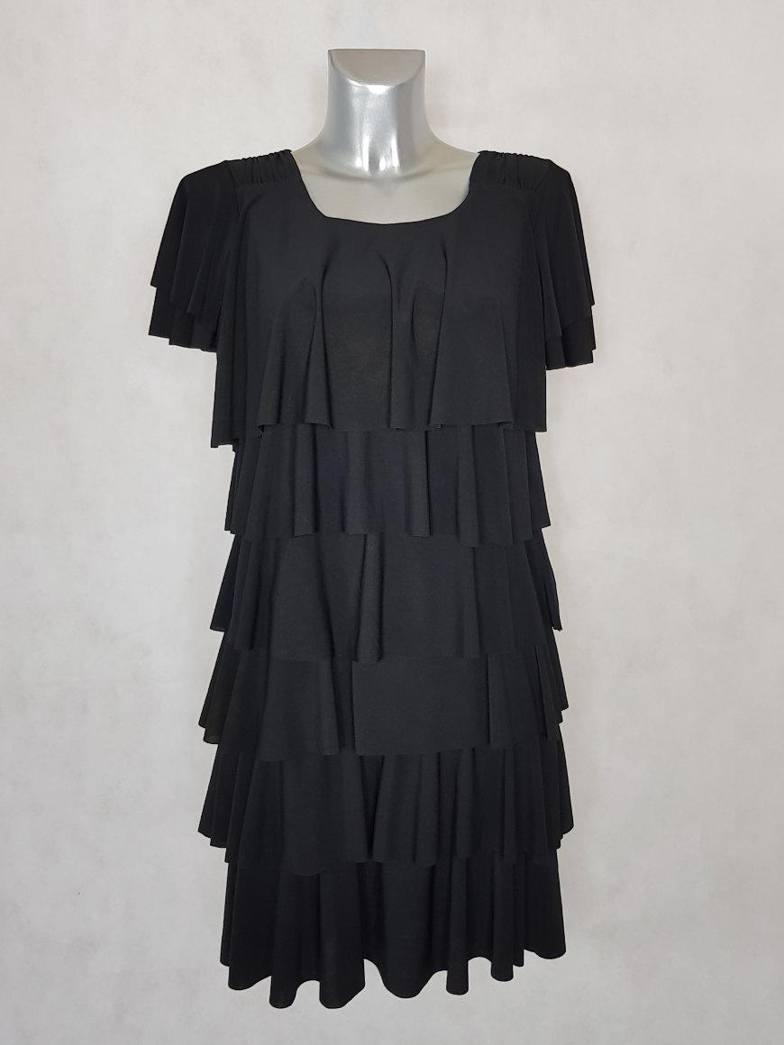 robe-femme-fluide-noir-a-volants-superposes-manches-courtes