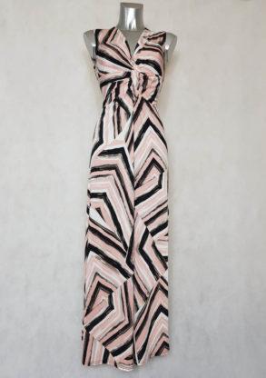 Robe femme longue rose évasée motif graphique