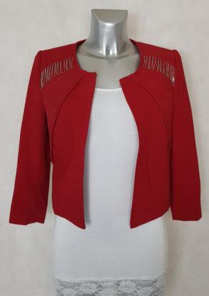 Veste boléro femme rouge unie avec chaînes manches 3/4.