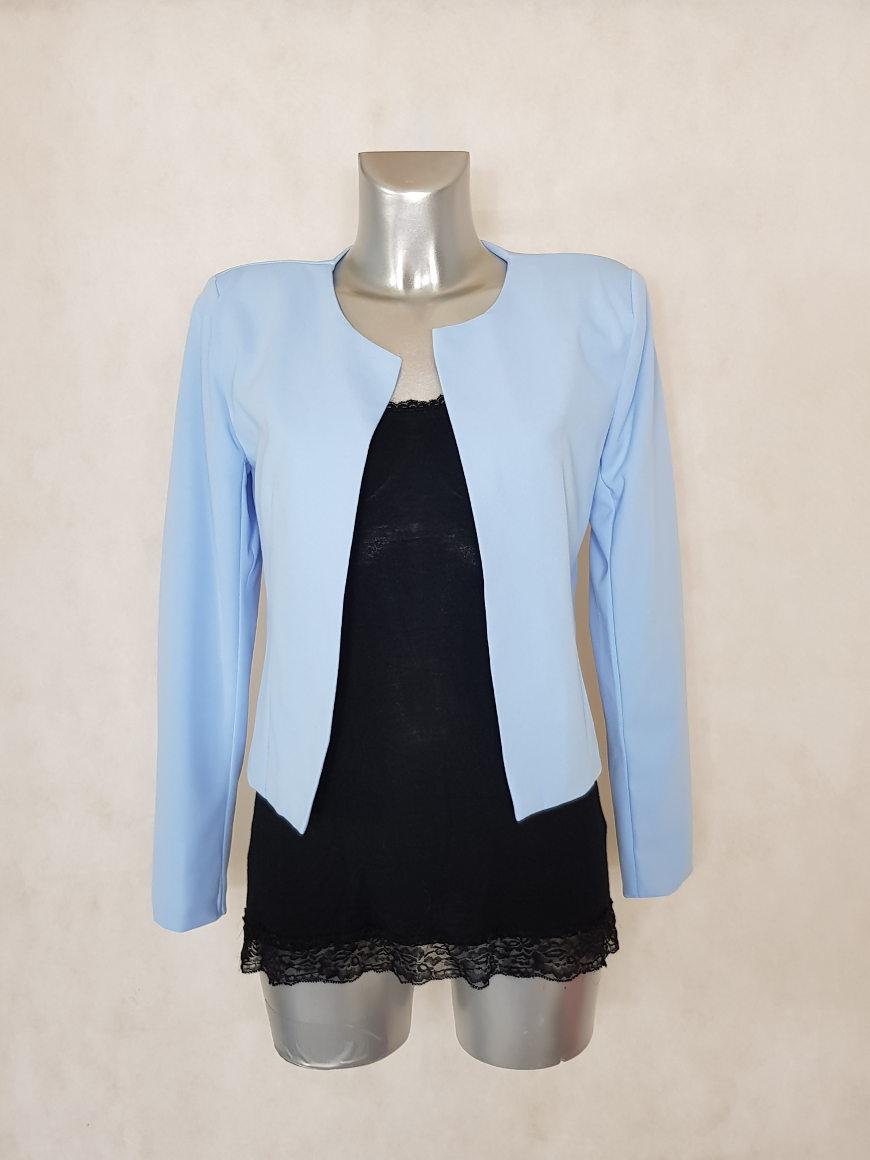 2a097ffb17c9 veste boléro femme unie azur manches longues - Caprices de madeleine