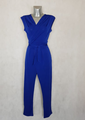 Combi-pantalon femme fluide bleu roi fuselée sans manches avec ceinture à nouer