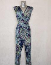 Combi-pantalon femme fluide fuselée bleue florale sans manches avec ceinture à nouer
