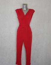 Combi-pantalon soirée rouge femme moderne