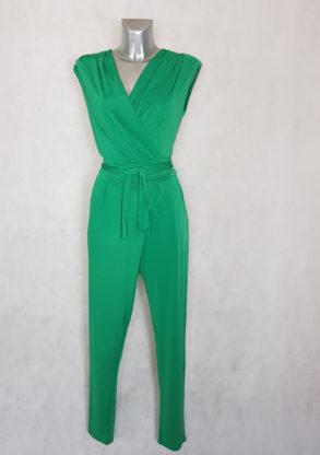 Combi-pantalon femme fluide unie verte fuselée sans manches avec ceinture à nouer