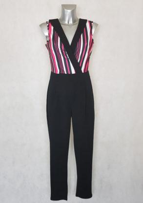 Combinaison pantalon femme fuselée rayée-unie sans manches