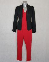 Combi-pantalon femme fluide unie rouge fuselée sans manches avec ceinture à nouer