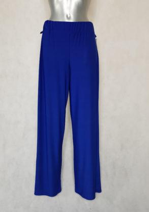 Pantalon femme large bleu roi fluide taille haute.
