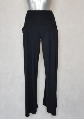 Pantalon femme large noir fluide taille haute